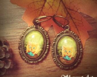Cat Earings- Fantasy jewelry, Fantasy Earings, Magical Earings, Cat Earings, Cat Jewelry, Glass Earings, Vintage Earings, Gift for Her