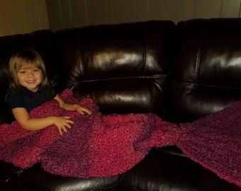Crocheted Mermaid Tail Blanket, chunky yarn, extra soft, child-adult sizes Mermaid tail blanket