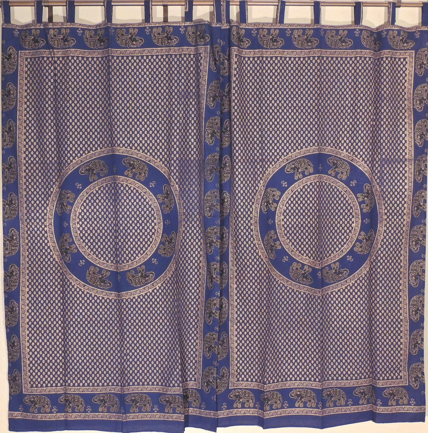 Navy Blue Ethnic Elephant Curtains 2 Gold Block Print