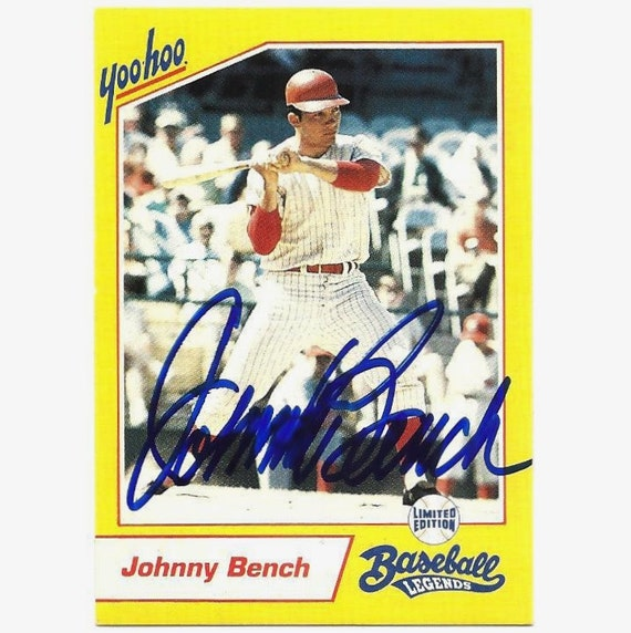 johnny bench autograph signed 1993 yoo hoo card reds nice