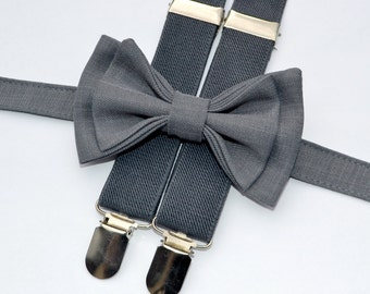 Charcoal Gray Bow Tie & Gray Suspenders -- Bow Tie Suspenders for Groom and Groomsmen -- Ring Bearer Outfit