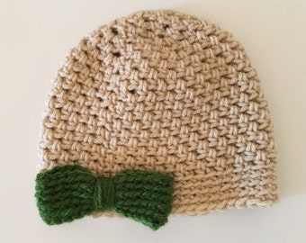 Baby and Toddler Crochet Hat with Bow/Beige with Green Bow