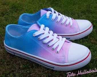 Tie Dye Shoes - Summer Canvas Plimsoll Shoes - Rainbow Bright Colours - Ready to Post - Size 8