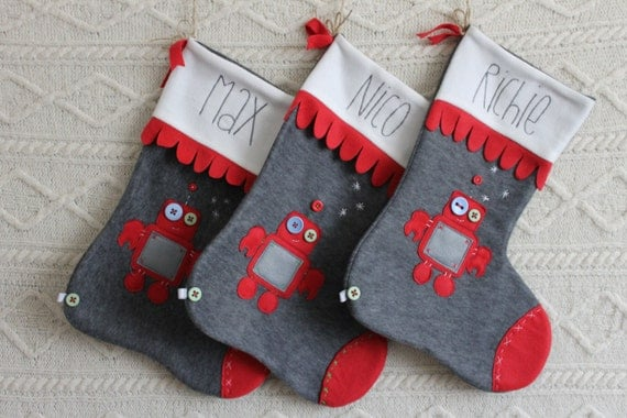 Handmade personalized christmas stocking by lolaberrydesigns for Custom made christmas stockings