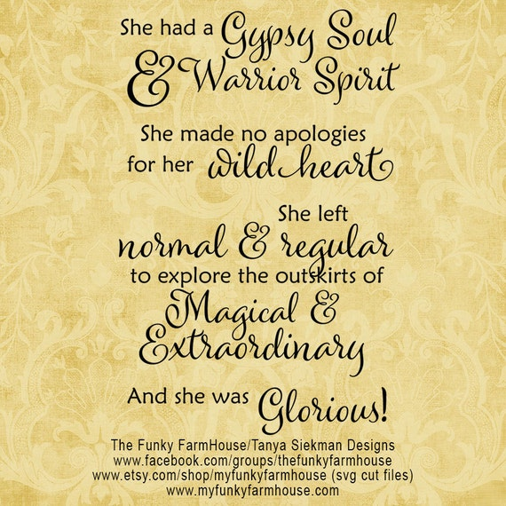 "SVG & PNG - ""She has a Gyspy Soul and Warrior Spirit"""