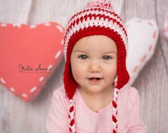 Ready to Ship - Pink and Red Pom pom Hat for 6-12 Month Baby - Baby Girl Hat - 6-12 Month Pom pom hat - Striped pom pom Beanie