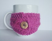 Cable Knit Mug Cozy with Button | ORCHID | Ready to Ship
