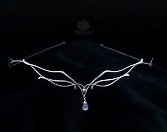 Sterling silver circlet with rainbow moonstone -Glider- Wedding Diadem Renaissance Bridal Elven Tiara Medieval Headpiece Elvish Wire wrap