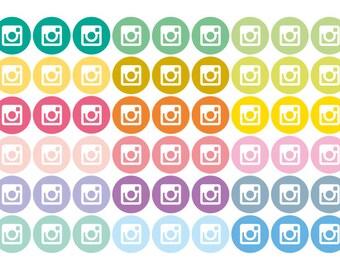 54 social media instagram sticker, photo blog stickers, planner stickers, eclp filofax happy planner kikkik mambi