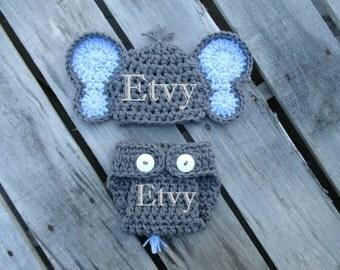 Newborn Boy Elephant Hat Diaper Cover Set Crochet Elephant Outfit Handmade Knit Baby Elephant Costume Newborn Photo Prop Baby Elephant Gift