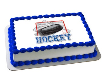 Hockey edible cake topper, hockey edible cake image, hockey party, hockey cake, hockey edible cupcake toppers, hockey birthday, hockey lover