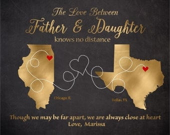 Gift for Dad, Father- Daughter Map,Personalized Map for Father and Daughter Living Far Away,Gold Gift for Father, Father's Day Gift