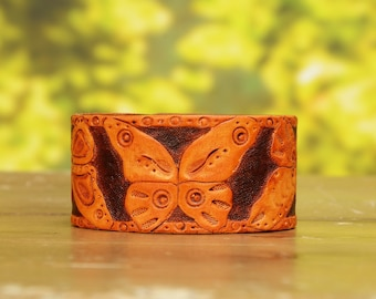 Butterfly leather bracelet