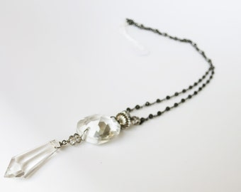 Burnished chain with old crystals and ancient silver.