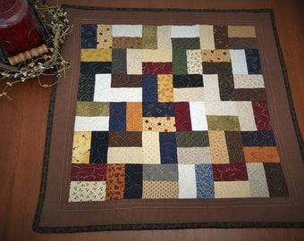 Quilted Table Topper / Primitive  Quilted Table Topper / Scrappy Table Runner