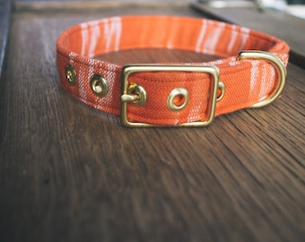 Orange Ikat + Brass Collar - Made in Melbourne
