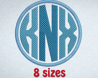 """Circle Monogram Embroidery Font  Machine Design 26 Letters 1"""", 1.5"""", 2"""", 2.5"""", 3"""",3.5"""", 4"""", 4.5""""  INSTANT DOWNLOAD 158"""