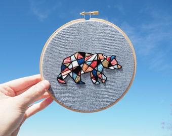 """Geometric Polar Bear Embroidery 6"""" Hoop"""
