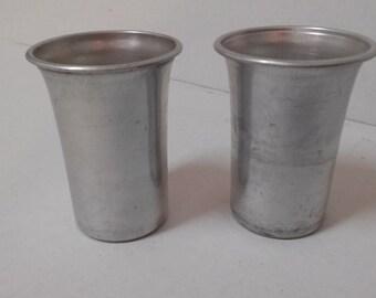 Vintage aluminum shot glasses