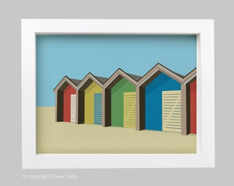 The Beach Huts at Blyth, Northumberland Illustration Print Seaside Gift Picture Art Artwork