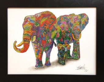 Colourful stained glass animal Elephants print by Michael Barrett