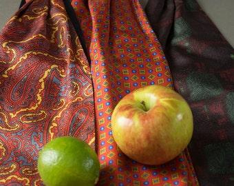 Vintage 40's Gentlemen's Cravats, European design, Silk Men's Ties, Hipster Ties,50's Men's Silk Ties