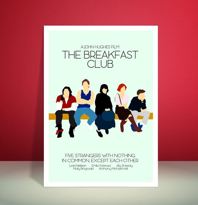the breakfast club john hughes 1980s minimalist movie poster unique art print. Black Bedroom Furniture Sets. Home Design Ideas