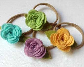 Felt Posey Headband - choose your colors - nylon headband - baby headband