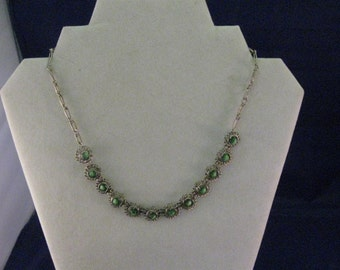 Vintage Necklace w Green Beads Incased in Silvertone Rounds