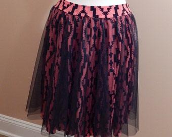 Full circle skirt / Fun skirt / Flare skirt / Pink & black skirt