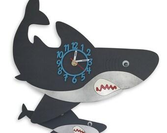 Shark Personalised Wooden Pendulum Clock