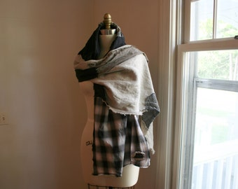 Boho Wrap Shawl / Hand Made Bohemian Patchwork Linen Shawl Scarf / by Breathe-Again Clothing