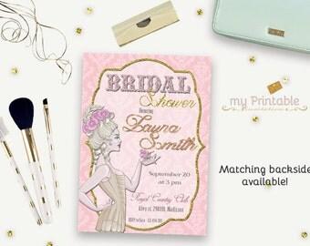 Burlesque Bridal Shower Printable Invitation