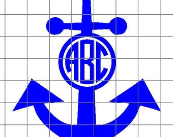 ANCHOR MONOGRAM Vinyl Decal / Sticker *Available in 24 Colors*   circle   3 letter   2 letter