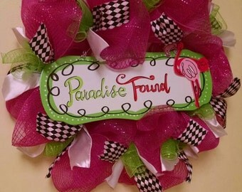 Deco mesh wreath, spring wreath, hot pink wreath, front door wreath, everyday wreath, paradise, summer wreath