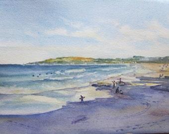Sydney Maroubra Beach  - Original Watercolour Painting - 20.0cm (H) x 30.0cm (W)