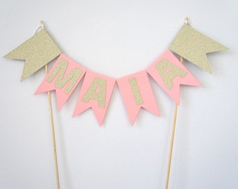 Personalised pink and gold glitter cake bunting