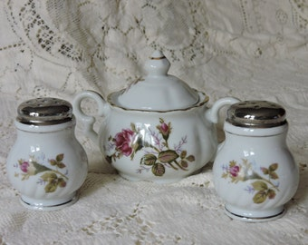 Vintage Japan Floral Roses Salt, Pepper, and Sugar Set - Porcelain China