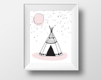 teepee print, Children's wall art, digital print, tribal nursery, playroom art, black and white, moon teepee print, pink teepee