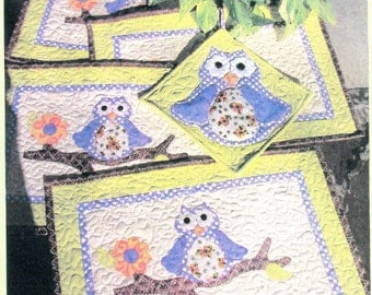 Out On A Limb Pattern for Owl Placemats and 9 inch Owl Potholder