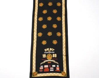 Vintage 100% Silk Newyork Signal long scarf Oblong Silk Scarf
