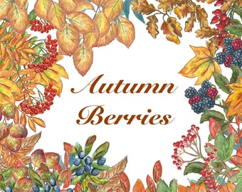 Autumn Berries and Leaves Clipart Colliection