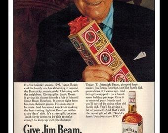 "Vintage Print Ad December 1969 : Jim Beam Kentucky Straight Bourbon Whisky Advertisement Color Wall Art Decor 8.5"" x 11"""