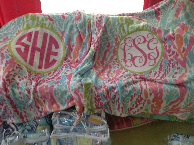 Easy Order-Monogrammed 17x17 Velveteen Plush Blanket