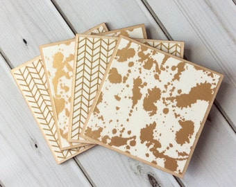 Gold Coasters, Wooden Coasters, Herringbone Decor, Gold Herringbone, Wood Coaster Set, Gold Wood Coaster, Abstract Coaster, Decorative Decor