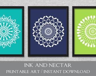 Printable Wall Art, Printable Artwork, Navy Lime Teal Art, Set of 3 Prints, 8x10, Wall Art Set, Printable Art, Digital Prints, Medallion Art