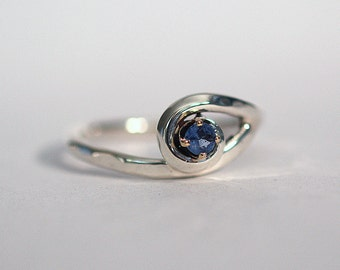 Solid Sterling Silver & Sapphire Wire Sculpture Ring