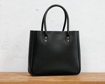 Leather Tote Bag, Large, Australian, CarryAll, Shoulder Bag, Black, Laptop, MacBook, Personalized, Handbag, Folio, Ipad, Australian