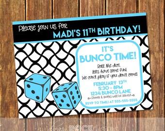 Bunco Birthday Party Invitation - Bunco Invite - Bunco Birthday - Bunco Party