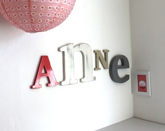 Large name Anne red pink, white, taupe, gray - mylittledecor - letters - name giant-giant letter - newborn - teen decor